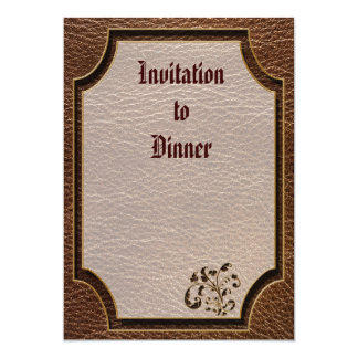 """Leather-Look Bouquet 2 5"""" X 7"""" Invitation Card"""