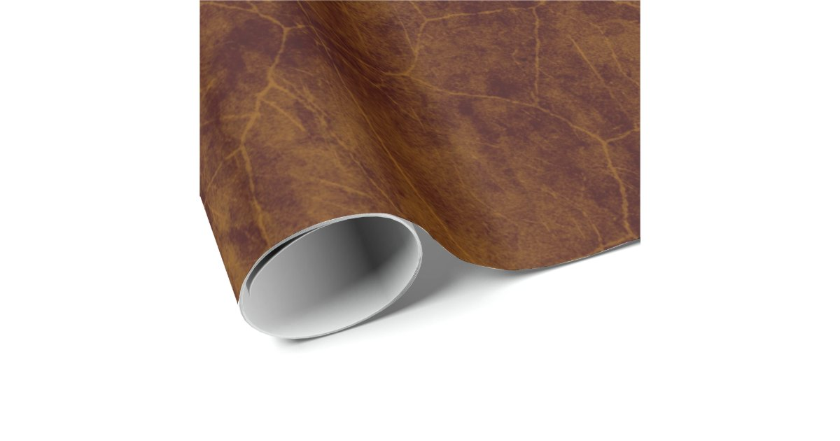 Leather Look Brown Aged Pleather Wrapping Paper Zazzle Com