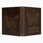 Leather-Look Butterfly Dark 3 Ring Binder