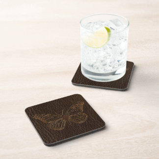 Leather-Look Butterfly Dark Coaster