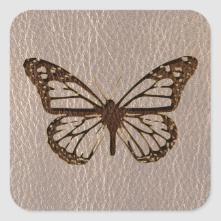 Leather-Look Butterfly Soft Square Sticker