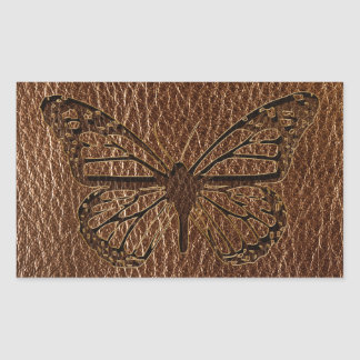 Leather-Look Butterfly Rectangular Sticker