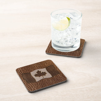 Leather-Look Canada Flag Beverage Coaster