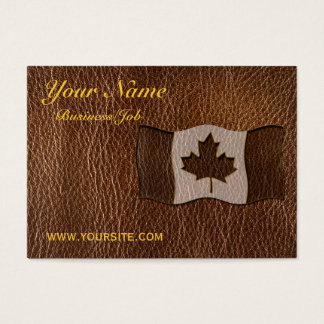 Leather-Look Canada Flag Business Card