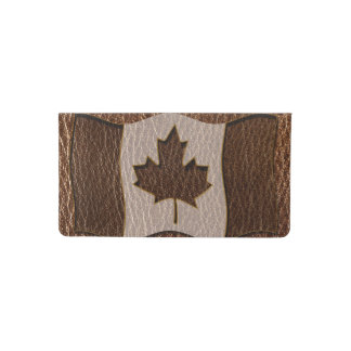 Leather-Look Canada Flag Checkbook Cover