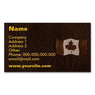 Leather-Look Canada Flag Dark Magnetic Business Card