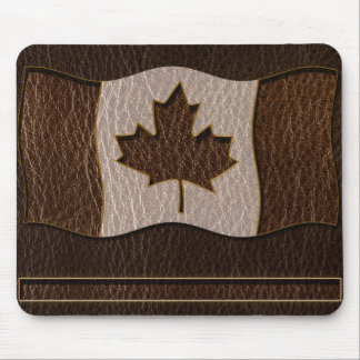 Leather-Look Canada Flag Dark Mouse Pad