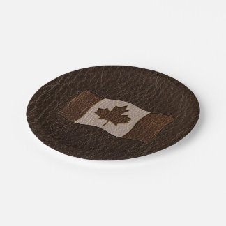 Leather-Look Canada Flag Dark Paper Plate
