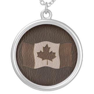 Leather-Look Canada Flag Dark Silver Plated Necklace