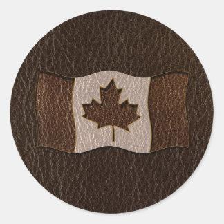 Leather-Look Canada Flag Dark Classic Round Sticker