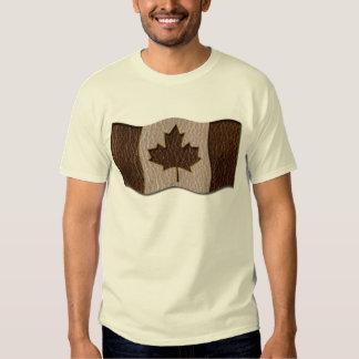 Leather-Look Canada Flag Dark Tee Shirt