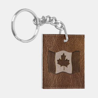 Leather-Look Canada Flag Keychain