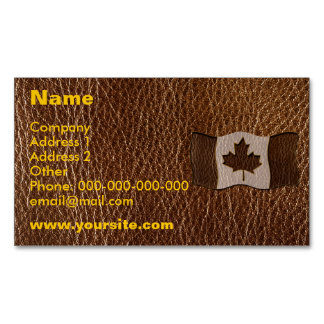 Leather-Look Canada Flag Magnetic Business Card