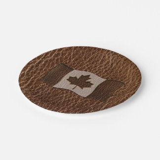 Leather-Look Canada Flag Paper Plate