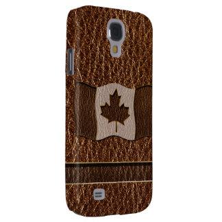 Leather-Look Canada Flag Samsung Galaxy S4 Case