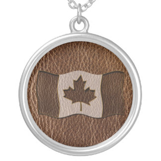Leather-Look Canada Flag Silver Plated Necklace