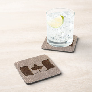 Leather-Look Canada Flag Soft Drink Coaster