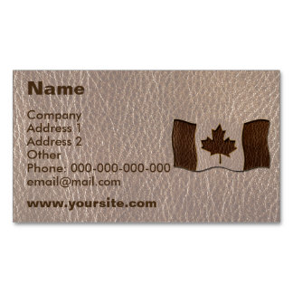 Leather-Look Canada Flag Soft Magnetic Business Card