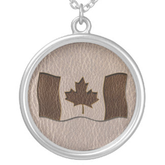 Leather-Look Canada Flag Soft Silver Plated Necklace