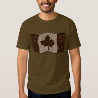 Leather-Look Canada Flag Soft Tee Shirt