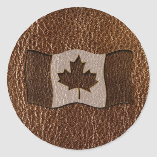 Leather-Look Canada Flag Classic Round Sticker