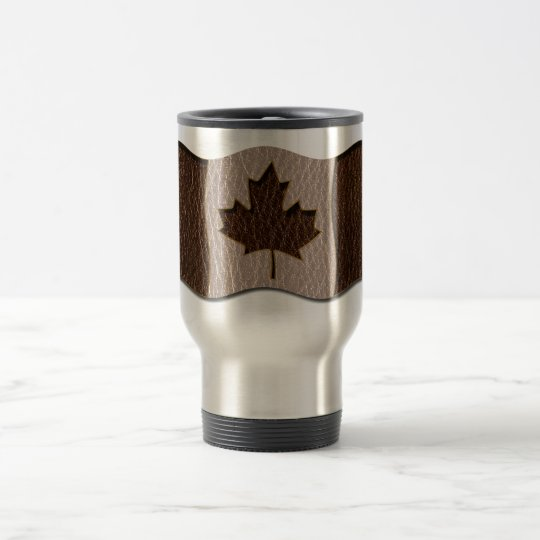 Leather-Look Canada Flag Travel Mug