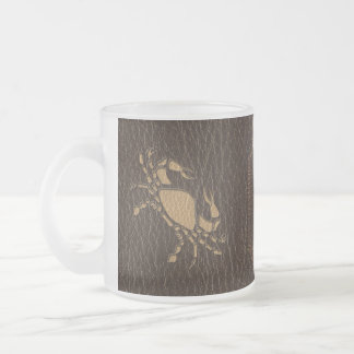 Leather-Look Cancer Frosted Glass Coffee Mug