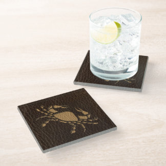 Leather-Look Cancer Glass Coaster