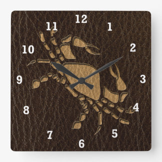 Leather-Look Cancer Square Wall Clock