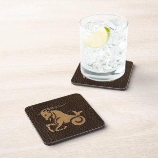 Leather-Look Capricorn Beverage Coaster
