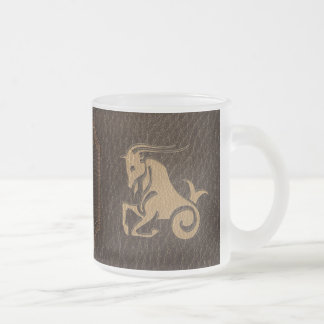 Leather-Look Capricorn Frosted Glass Coffee Mug