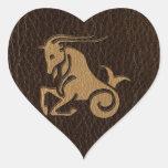 Leather-Look Capricorn Heart Sticker