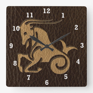 Leather-Look Capricorn Square Wall Clock