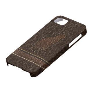 Leather-Look Cat Dark iPhone SE/5/5s Case