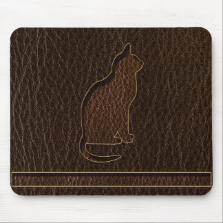 Leather-Look Cat Dark Mouse Pad