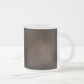 Leather-Look Cat Dark 10 Oz Frosted Glass Coffee Mug