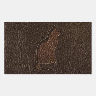 Leather-Look Cat Dark Rectangular Sticker