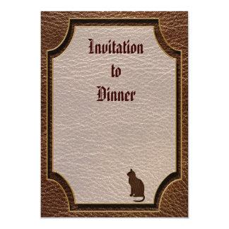 "Leather-Look Cat 5"" X 7"" Invitation Card"