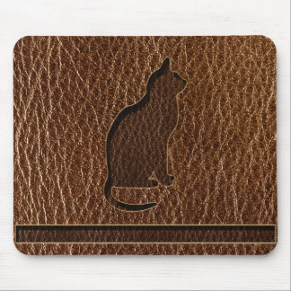 Leather-Look Cat Mouse Pad