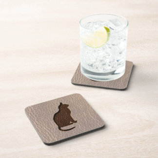 Leather-Look Cat Soft Beverage Coaster