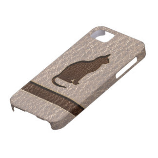 Leather-Look Cat Soft iPhone SE/5/5s Case