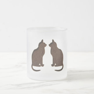 Leather-Look Cat Soft 10 Oz Frosted Glass Coffee Mug