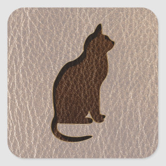 Leather-Look Cat Soft Square Sticker