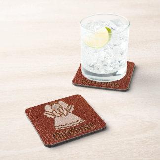 Leather-Look Christmas Angel Beverage Coaster