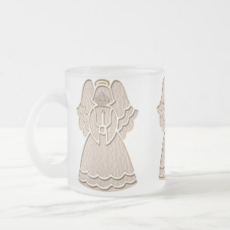 Leather-Look Christmas Angel Frosted Glass Coffee Mug