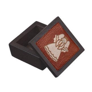Leather-Look Christmas Angel Jewelry Box