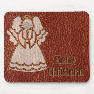 Leather-Look Christmas Angel Mouse Pad
