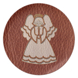 Leather-Look Christmas Angel Plate