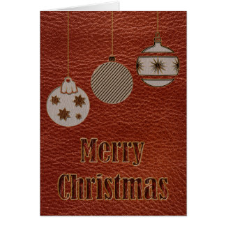 Leather-Look Christmas Red Card