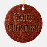 Leather-Look Christmas Red Ceramic Ornament